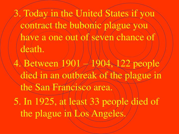 3. Today in the United States if you contract the bubonic plague you have a one out of seven chance of death.