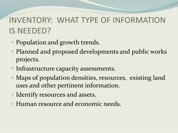 INVENTORY:  WHAT TYPE OF INFORMATION IS NEEDED?