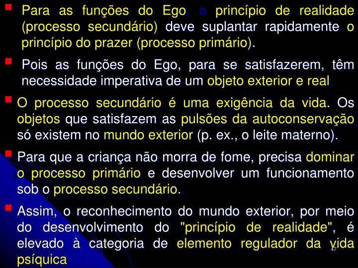 Para as funções do Ego