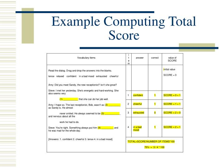 Example Computing Total Score