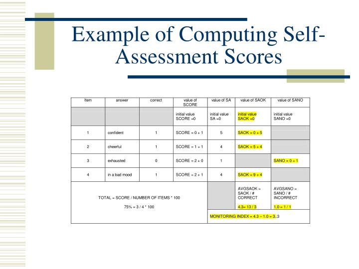 Example of Computing Self-Assessment Scores