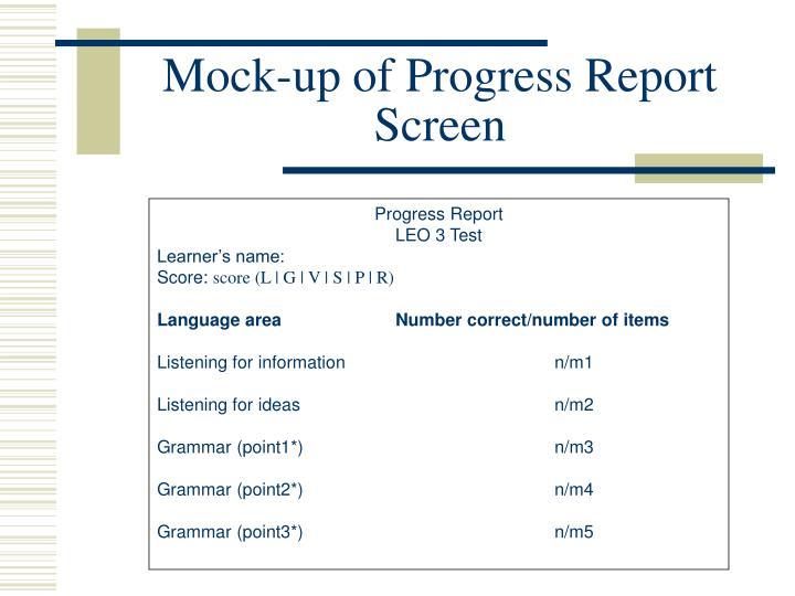Mock-up of Progress Report Screen