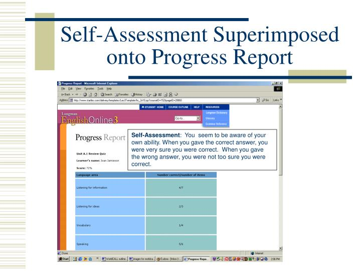 Self-Assessment Superimposed onto Progress Report