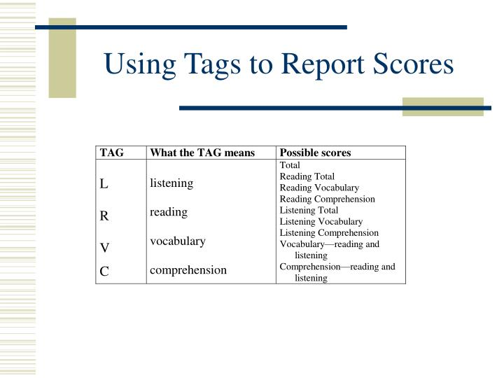 Using Tags to Report Scores