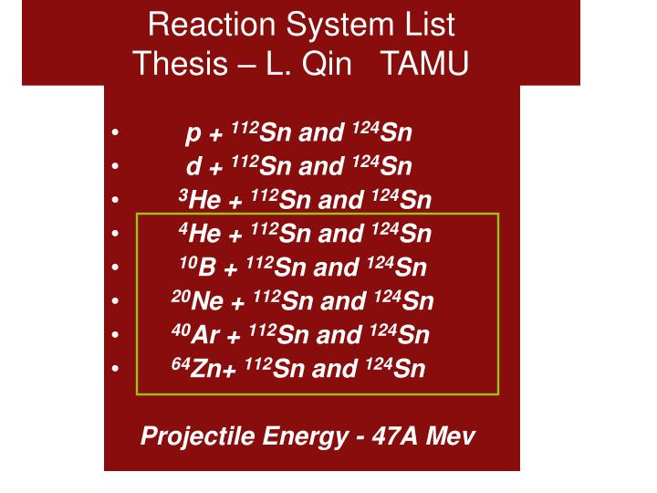 Reaction System List