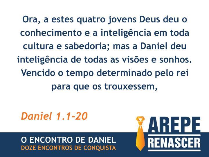 Ora, a estes quatro jovens Deus deu o conhecimento e a inteligência em toda cultura e sabedoria; mas a Daniel deu inteligência de todas as visões e sonhos.