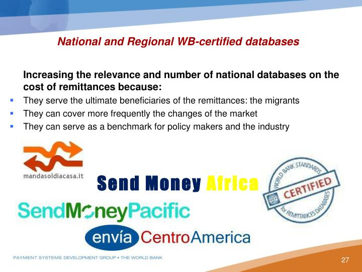 National and Regional WB-certified databases