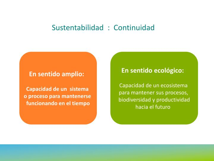 Sustentabilidad  :  Continuidad