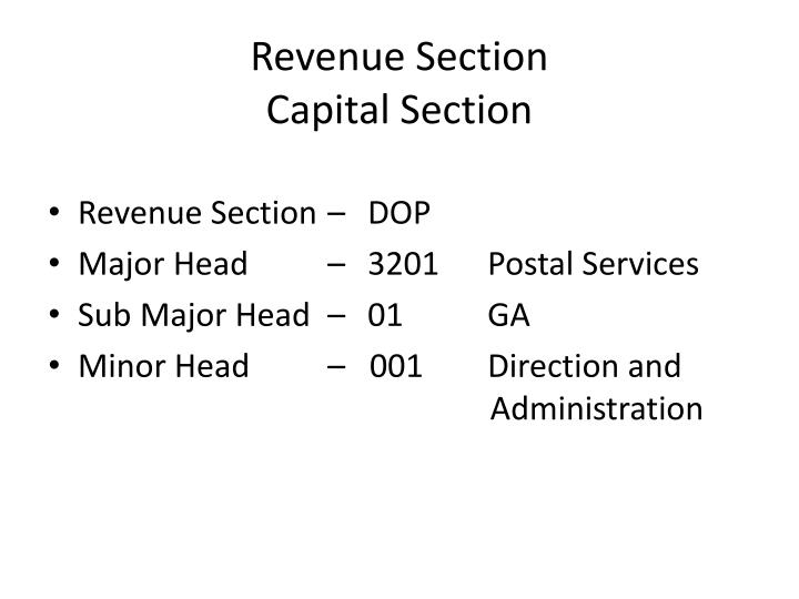 Revenue section capital section