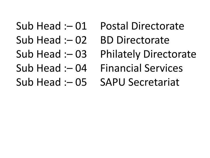 Sub Head :– 01Postal Directorate