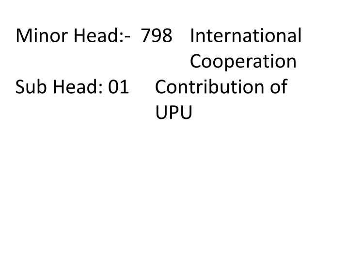 Minor Head:-  798 	International 					Cooperation