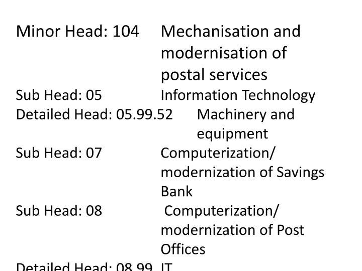 Minor Head: 104