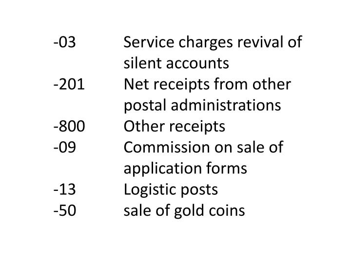 -03		Service charges revival of 		silent accounts