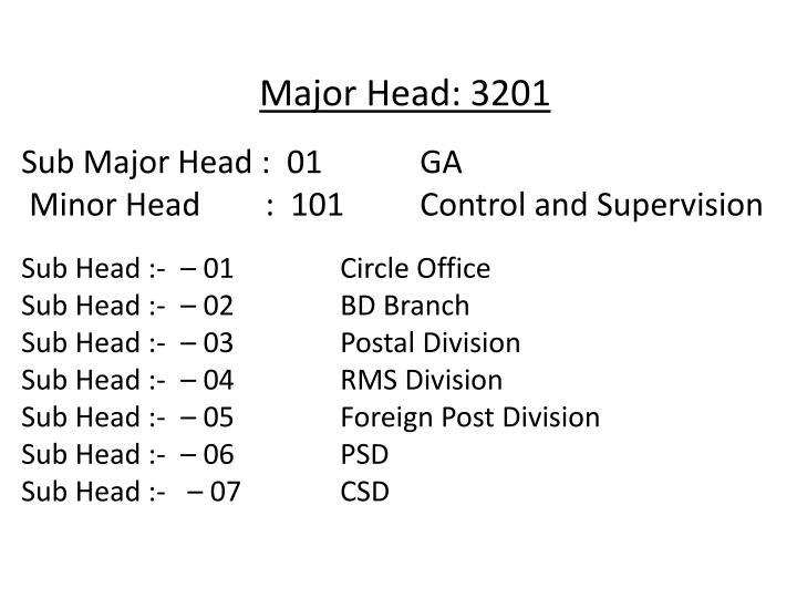 Major Head: 3201