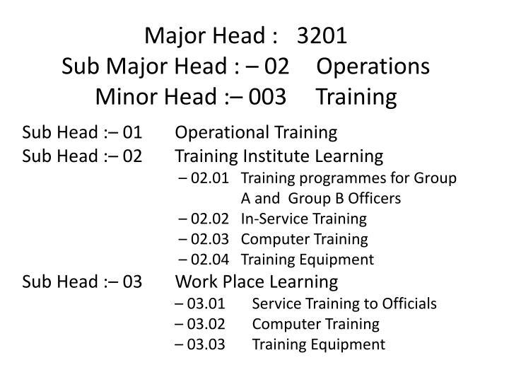 Major Head :3201