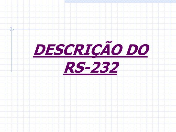 DESCRIÇÃO DO RS-232