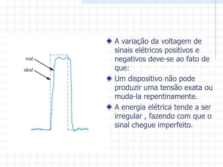 A variação da voltagem de sinais elétricos positivos e negativos deve-se ao fato de que: