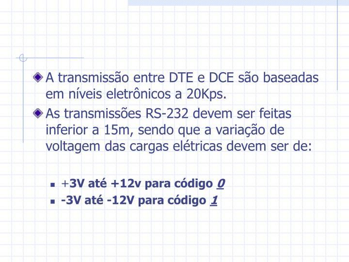 A transmissão entre DTE e DCE são baseadas em níveis eletrônicos a 20Kps.