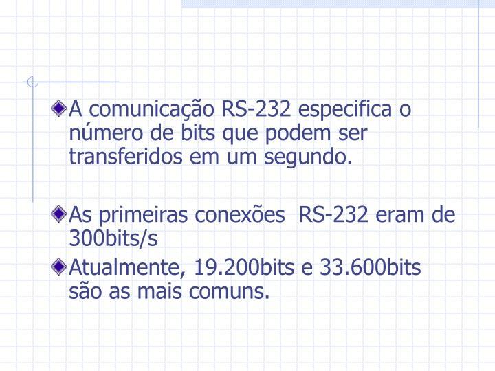 A comunicação RS-232 especifica o número de bits que podem ser transferidos em um segundo.
