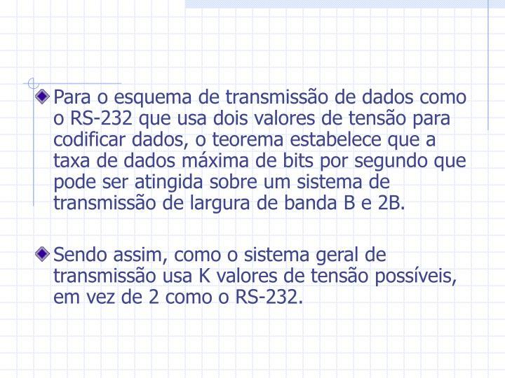 Para o esquema de transmissão de dados como o RS-232 que usa dois valores de tensão para codificar dados, o teorema estabelece que a taxa de dados máxima de bits por segundo que pode ser atingida sobre um sistema de transmissão de largura de banda B e 2B.