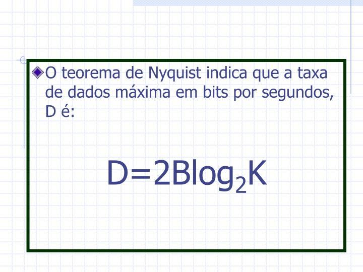 O teorema de Nyquist indica que a taxa de dados máxima em bits por segundos, D é: