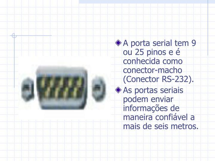 A porta serial tem 9 ou 25 pinos e é conhecida como conector-macho (Conector RS-232).