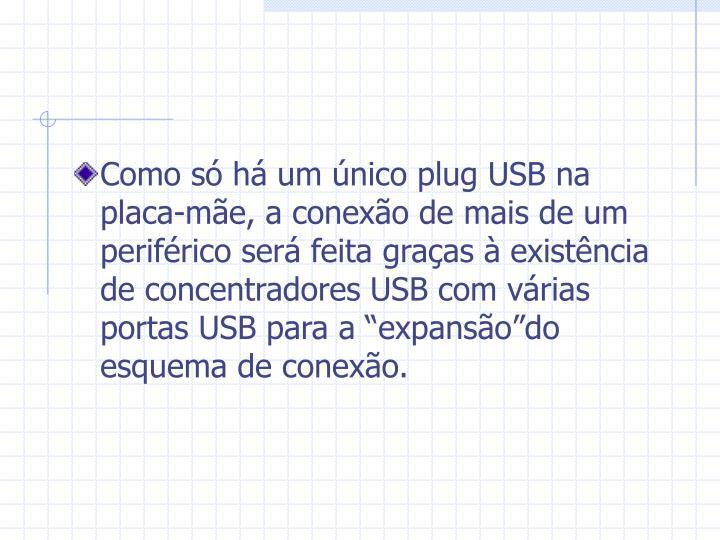"""Como só há um único plug USB na placa-mãe, a conexão de mais de um periférico será feita graças à existência de concentradores USB com várias portas USB para a """"expansão""""do esquema de conexão."""