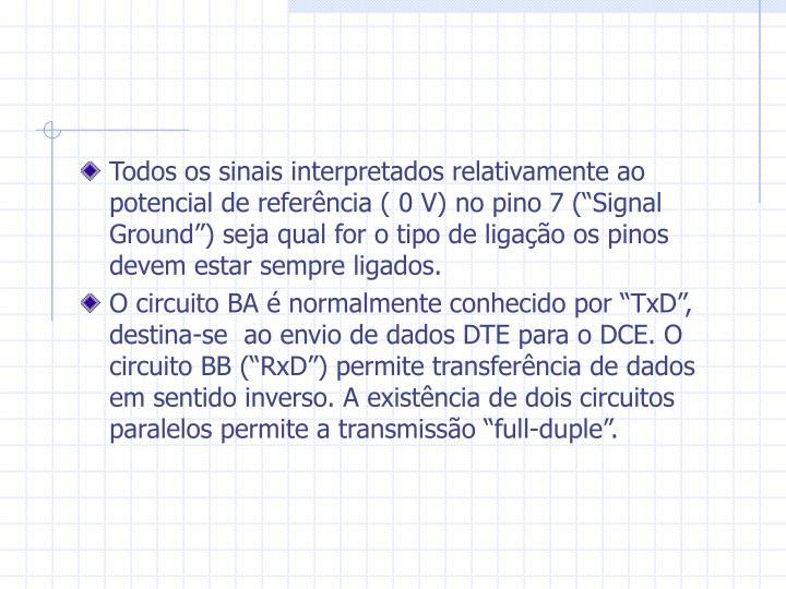 """Todos os sinais interpretados relativamente ao potencial de referência ( 0 V) no pino 7 (""""Signal Ground"""") seja qual for o tipo de ligação os pinos devem estar sempre ligados."""