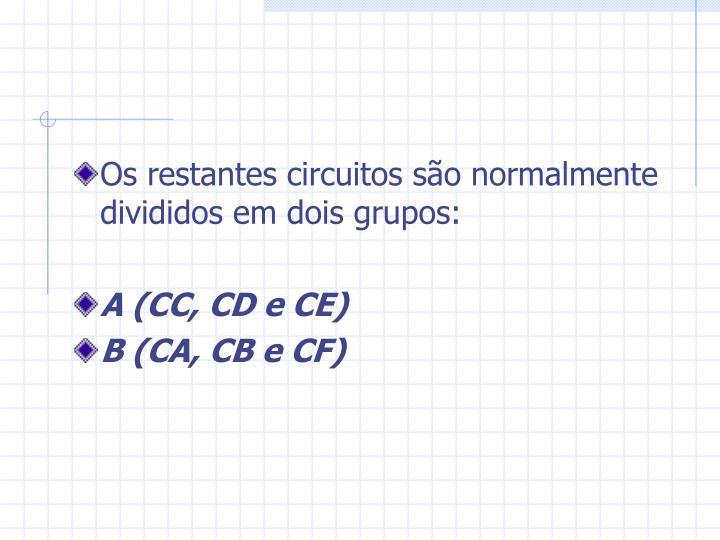 Os restantes circuitos são normalmente divididos em dois grupos: