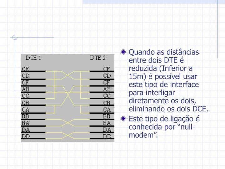 Quando as distâncias entre dois DTE é reduzida (Inferior a 15m) é possível usar este tipo de interface para interligar diretamente os dois, eliminando os dois DCE.