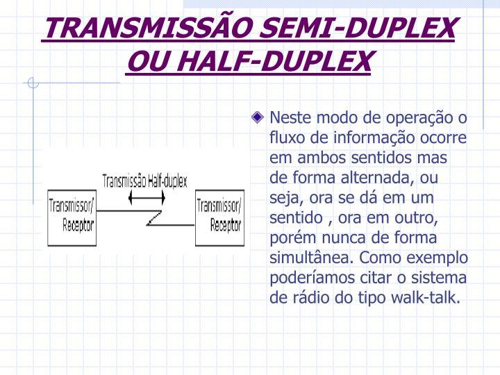 TRANSMISSÃO SEMI-DUPLEX