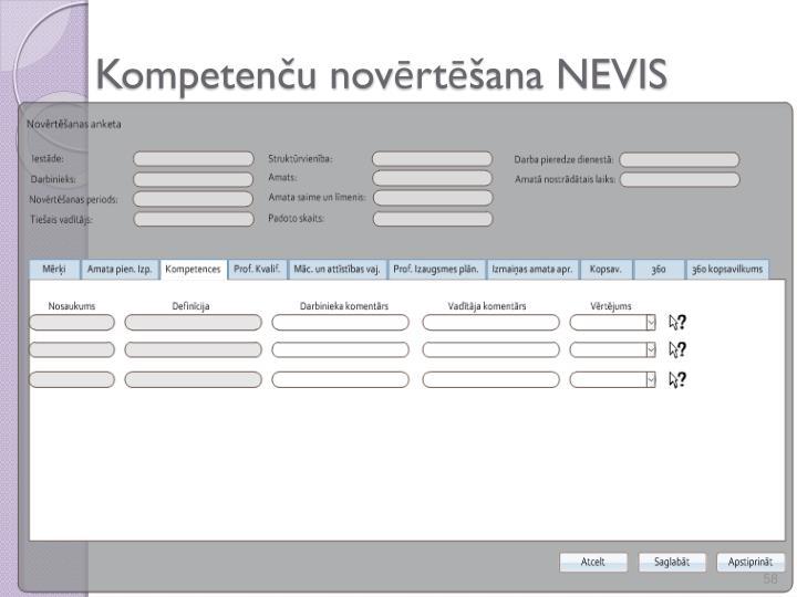 Kompetenču novērtēšana NEVIS