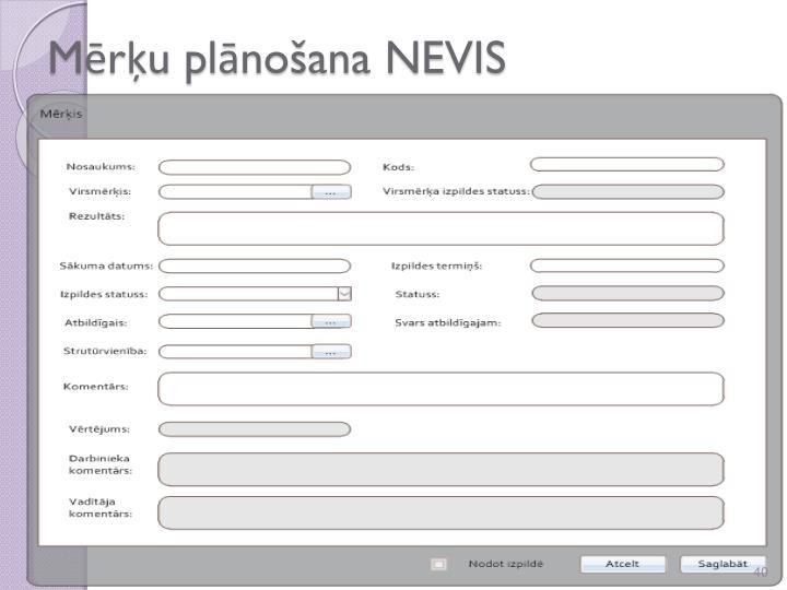 Mērķu plānošana NEVIS