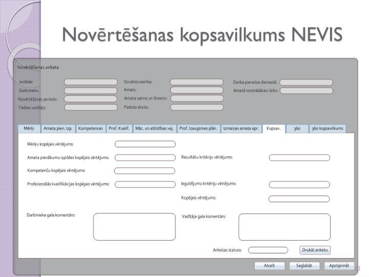 Novērtēšanas kopsavilkums NEVIS