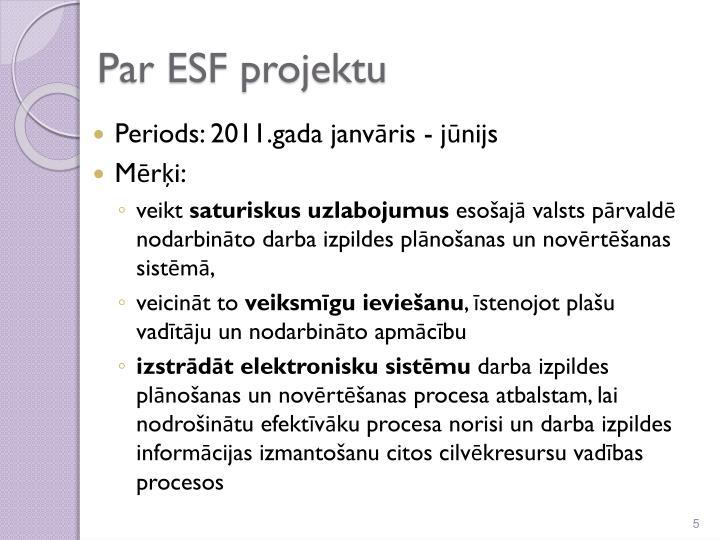 Par ESF projektu