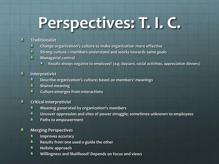 Perspectives: T. I. C.