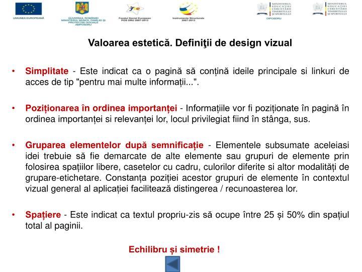 Valoarea estetică. Definiţii de design vizual