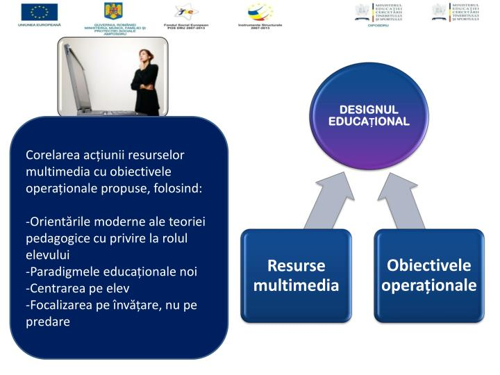 Corelarea acțiunii resurselor multimedia cu obiectivele operaționale propuse, folosind: