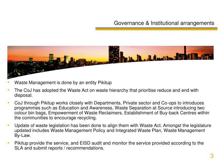 Governance & Institutional arrangements