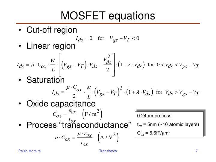 MOSFET equations