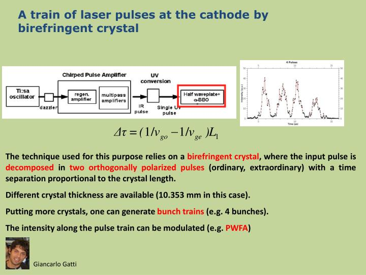 A train of laser pulses at the cathode by birefringent crystal