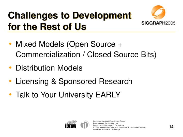 Challenges to Development for the Rest of Us