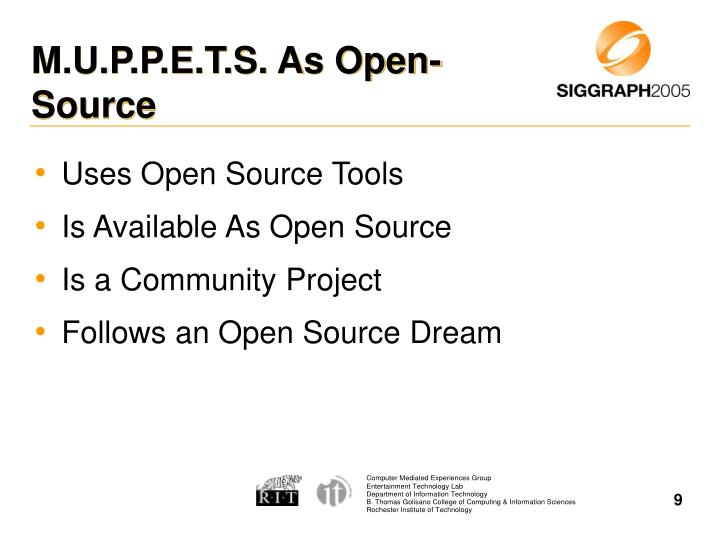 M.U.P.P.E.T.S. As Open-Source