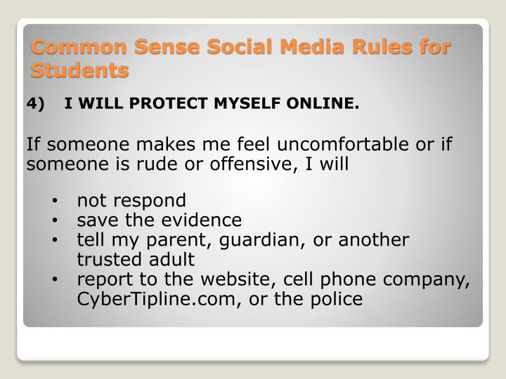 4)I WILL PROTECT MYSELF ONLINE.