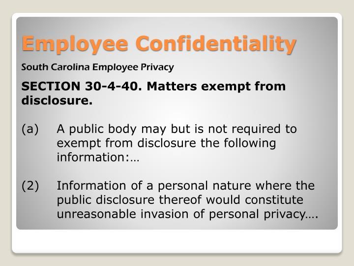 South Carolina Employee Privacy
