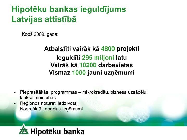 Hipotēku bankas ieguldījums