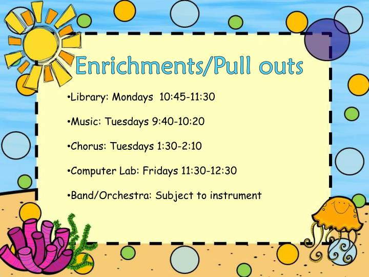 Enrichments/Pull outs