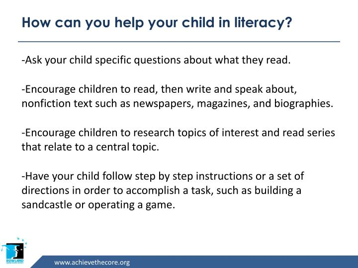 How can you help your child in literacy?