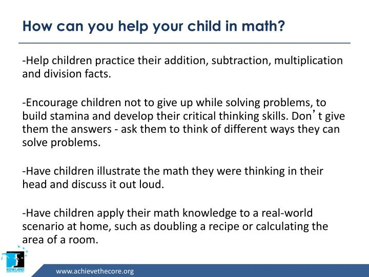 How can you help your child in math?