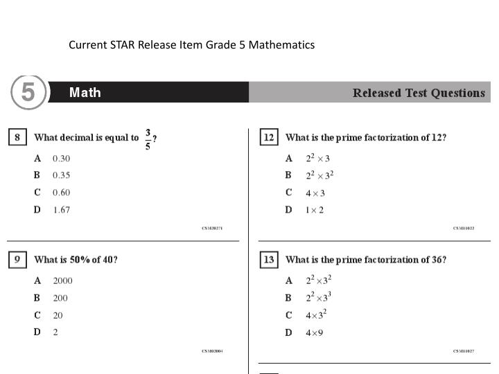 Current STAR Release Item Grade 5 Mathematics